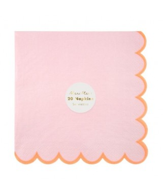 Serviettes Rose & Corail