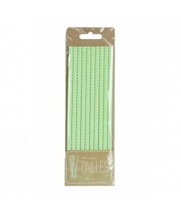 10 Pailles en papier chevrons vert pastel