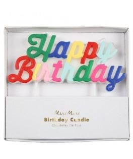 Bougie d'anniversaire Happy Bithday multicolore