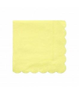 20 Petites serviettes jaune pastel