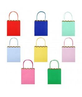 8 Sacs cadeaux unis multicolores festonnés or