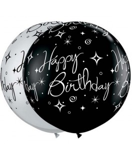 Ballons latex Happy Birthday Noir & Argent  (3' - 86,3 cm)  x2