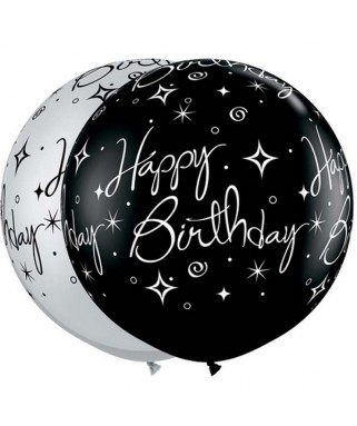 2 Ballons latex Happy Birthday Noir & Argent