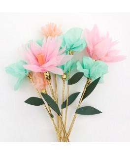 10 Bâtonnets de fleurs en papier English Garden