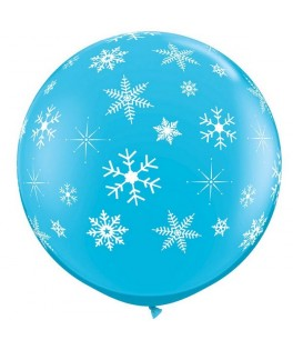 2 Ballons latex Flocons des Neiges Bleu