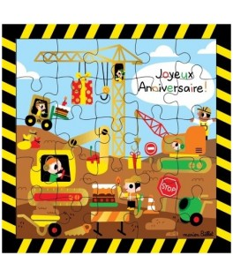 Carte Puzzle Joyeux Anniversaire Chantier