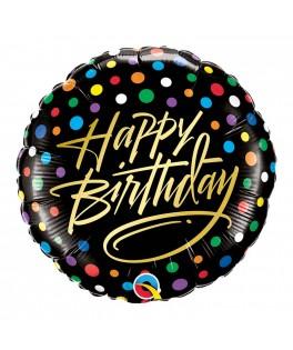 Ballon Happy Birthday noir et pois multicolores
