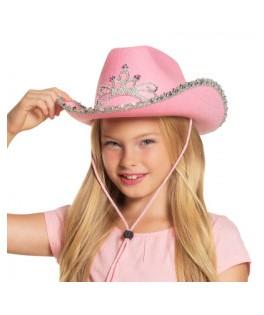 Chapeau Cowgirl enfant rose à sequins