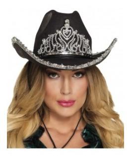 Chapeau Cowgirl adulte noir à sequins