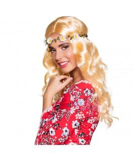 Perruque Joy blond avec bandeau à fleurs