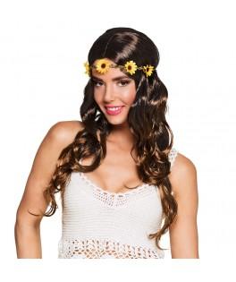 Perruque Joy brune avec bandeau à fleurs