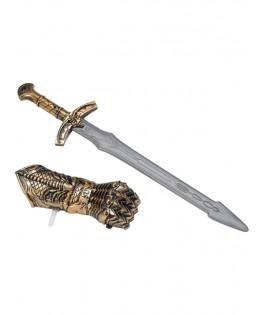 Armes médiévales bronze avec épée et bouclier à main
