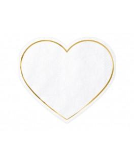 20 Serviettes Coeur blanc/or
