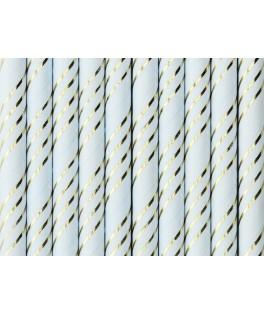 10 Pailles en papier bleues à rayures or