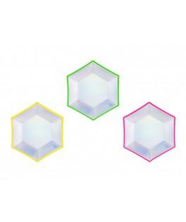6 Assiettes irisées contours fluo Holoparty