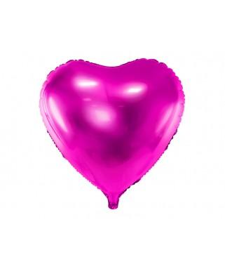 Ballon Coeur métallisé rose 45 cm