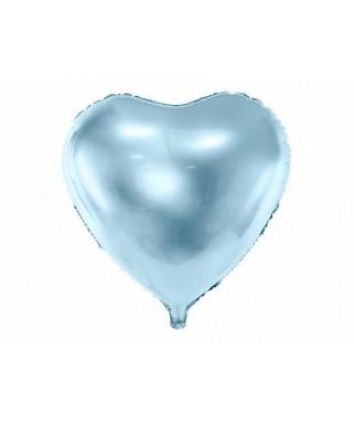 Ballon Coeur métallisé bleu 45 cm
