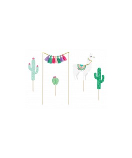 Cake toppers Cactus & Lama - 5 pièces