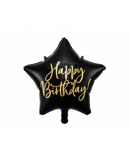 Ballon Etoile Happy Birthday noir & or 40 cm