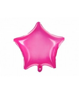 Ballon Etoile Happy Birthday transparent rose fluo 48 cm