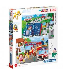 2 Puzzles Pompiers sauveur 60 Pièces - CLEMENTONI