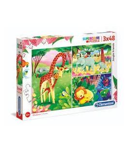 3 Puzzles Amis de la Jungle 48 Pièces - CLEMENTONI