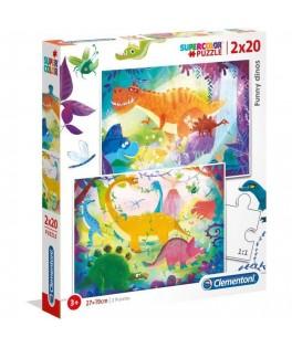 2 Puzzles Funny Dinosaures 20 Pièces - CLEMENTONI