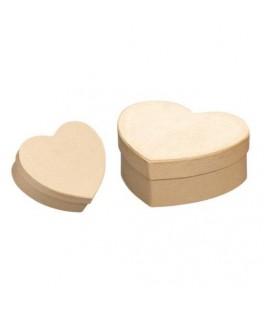 2 Boîtes coeur en papier mâché