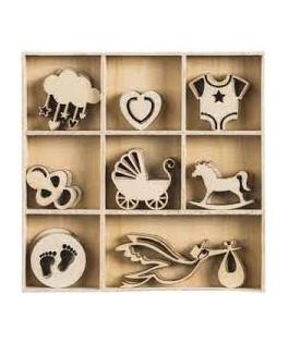 Boîte d'ornements en bois BEBE 2