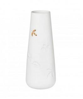 Vase en porcelaine blanche et feuilles incrustées