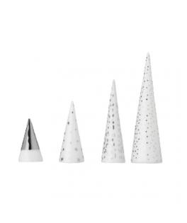 Forêt de 4 sapins de Noel en porcelaine blanc/argent