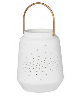 Lanterne blanche en porcelaine ajourée 11,5 cm