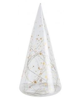 Sapin en verre étoiles or à LED - 30 cm