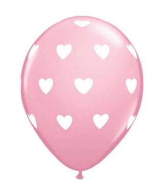 ballons roses coeurs blancs