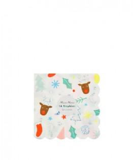 8 petites serviettes Funky Noël 25 cm