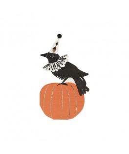 16 serviettes Corbeau Halloween vintage