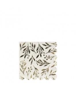 16 Petites serviettes feuilles dorées