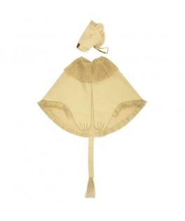 Déguisement cape et chapeau de Lion avec franges dorées
