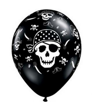 ballons latex pirate tete de mort noir