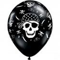 6 Ballons latex Pirate  tête de mort noir