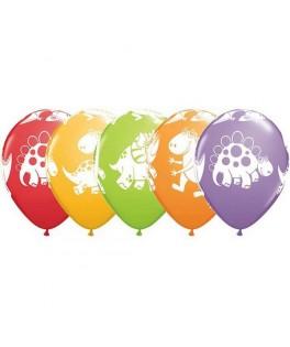 6 Ballons latex Petits dinosaures