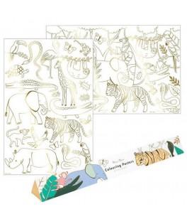 Set de 2 posters Animaux de la Jungle à colorier