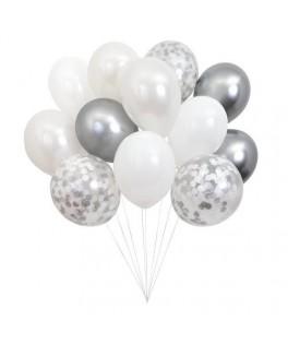 Bouquet de 12 ballons argentés