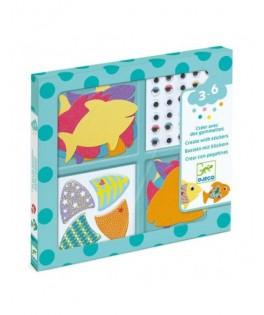 Créer avec des gommettes - J'aime les poissons  - DJECO