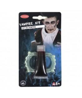 Set maquillage Vampire (dents et faux sang 11 ml)