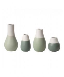 Set de 4 mini vases pastel vert olive/menthe