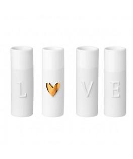 4 Mini vases blancs LOVE