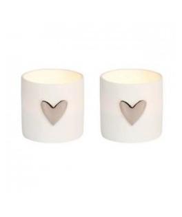 Mini photophore porcelaine blanche Coeur Argent