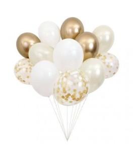 Bouquet de 12 ballons dorés