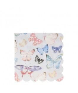16 Grandes serviettes Papillons avec dorure